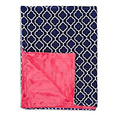 image of Baby Laundry Minky Trellis/Watermelon Posh Blanket in Navy