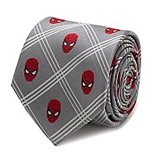 image of Marvel® Spider-Man Plaid Tie in Grey