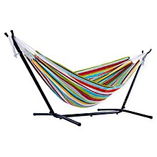 image of Vivere 9-Foot Double Hammock with Stand in Sunbrella® Fabric in Multicolor Stripes