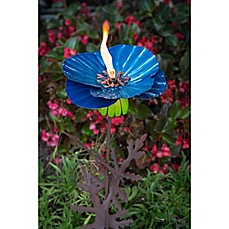 image of Desert Steel Poppy 36-Inch Metal Garden Torch