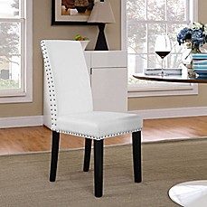 Modway Parcel Vinyl Dining Side Chair In White