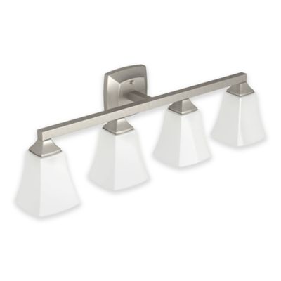 Moen Brushed Nickel Vanity Lights : Moen Voss 4-Light Bath Fixture in Brushed Nickel - Bed Bath & Beyond