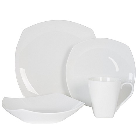 image of nevaeh white by fitz and floyd soft square dinnerware collection
