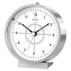 image of Bulova Flair Table Clock in Aluminum/White