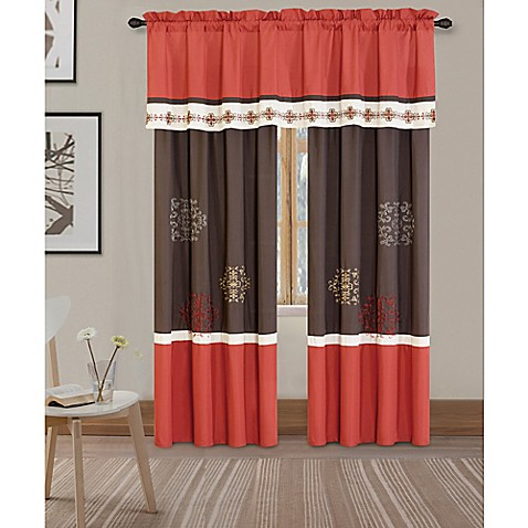 yasmine rod pocket window curtain panel pair and valance bed bath beyond. Black Bedroom Furniture Sets. Home Design Ideas