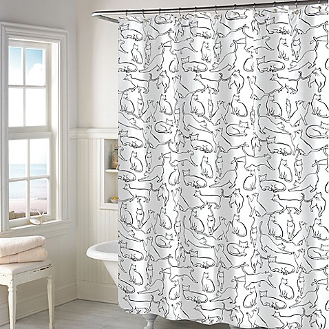 Curtains Ideas bed bath and beyond bathroom curtains : Cats Shower Curtain in White - Bed Bath & Beyond