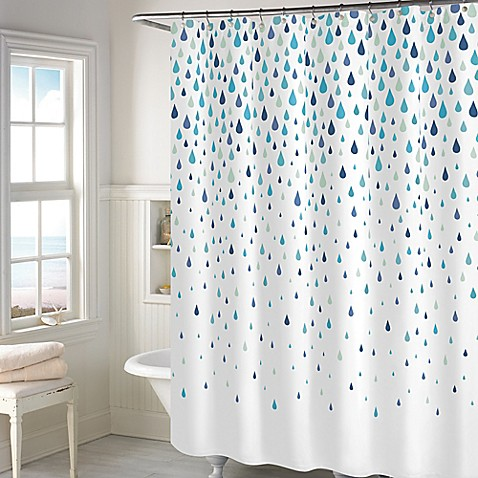 rainy days shower curtain in aqua bed bath amp beyond 85734