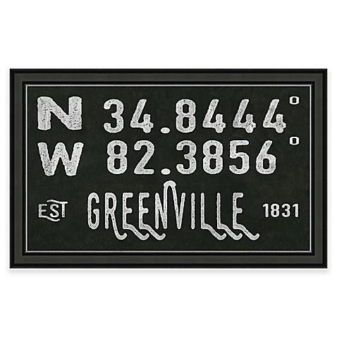 Greenville south carolina coordinates framed wall art for Home decor greenville sc