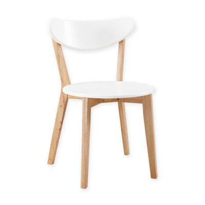 image of Walker Edison Retro Modern Dining Chairs in White/Natural (Set of 2)
