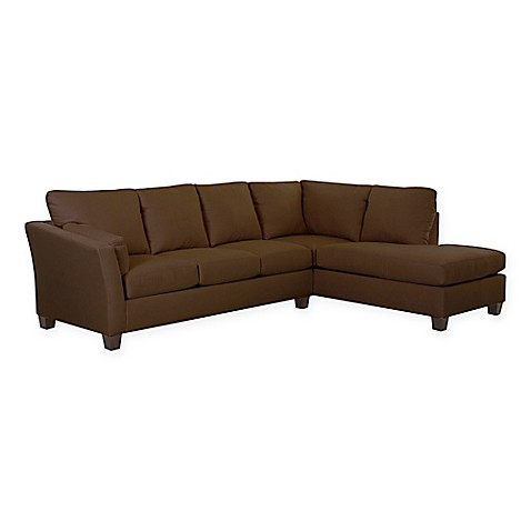 Klaussner Reg Drew 2 Piece Sectional Sofa With Right Chaise In Microsuede