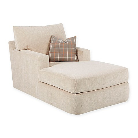 Klaussner chaise lounge in oatmeal bed bath beyond for Bathroom chaise lounge