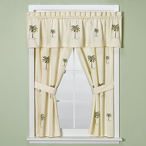 Croscill port of call bathroom window curtain pair bed bath beyond Bathroom valances for windows