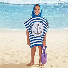 image of Navy Anchor Kids Hooded Towel