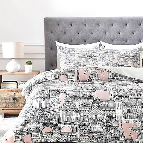 Deny designs paris toile sugar pink duvet cover bed bath beyond - Toile triptyque design ...
