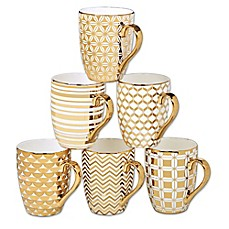 image of Certified International Elegance Gold 16 oz. Tapered Mugs (Set of 6)