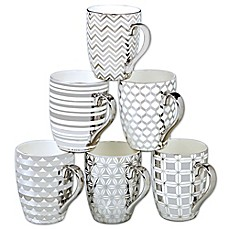image of Certified International Elegance Silver 16 oz. Tapered Mugs (Set of 6)