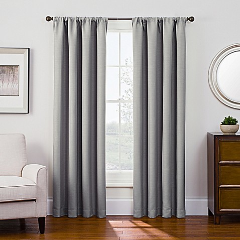 Buy Antique Satin 84 Inch Room Darkening Rod Pocket Window Curtain Panel In Grey From Bed Bath