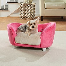 image of Enchanted Home Ultra Plush Dog Snuggle Pet Sofa in Pink