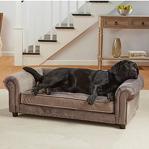 Buy Enchanted Home Velvet Tufted Manchester Pet Sofa in Grey from Bed Bath & Beyond