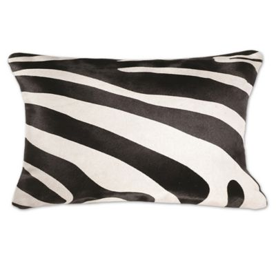 Buy Torino Togo Rectangular Zebra Print Cowhide Throw Pillow in Black/White from Bed Bath & Beyond