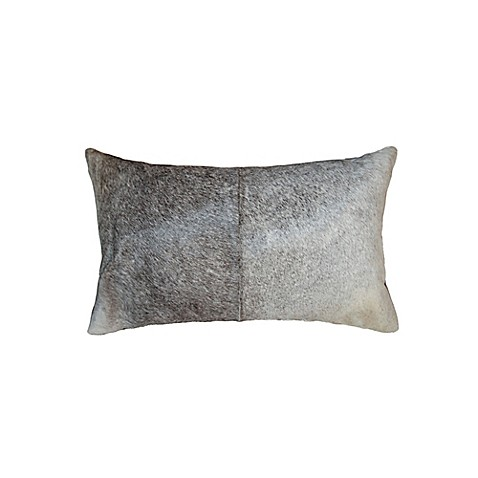 Grey Rectangular Throw Pillow : Torino Kobe Rectangular Cowhide Throw Pillow in Grey/White - Bed Bath & Beyond