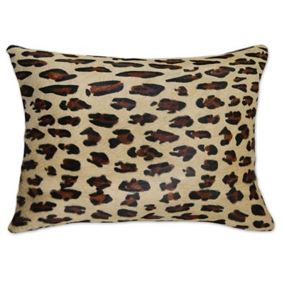 Buy Torino Leopard 12-Inch x 20-Inch Oblong Cowhide Throw Pillow in Brown from Bed Bath & Beyond