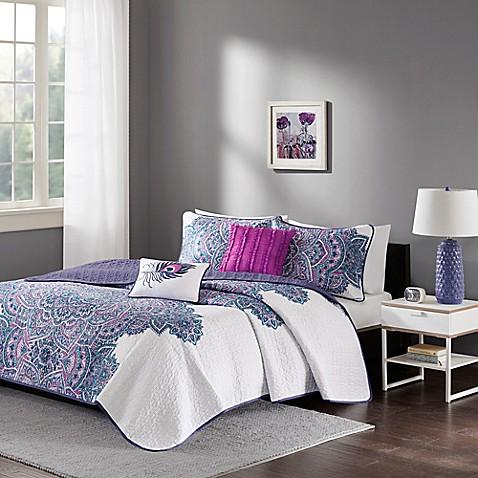 intelligent design mila coverlet set in purple bed bath. Black Bedroom Furniture Sets. Home Design Ideas