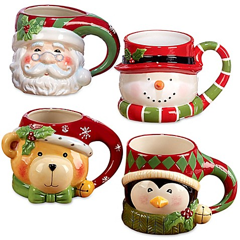 Certified International 3d Figurine Novelty Christmas Mugs