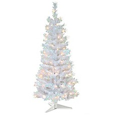 image of national tree company 4 foot tinsel pre lit christmas tree with plastic - National Christmas Tree Company