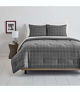 Juego de edredón matrimonial/queen de algodón Simply Essential™ Windowpane color gris/blanco