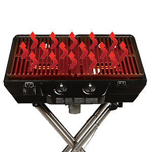 the top of an NXT grill with grill plates red from heat. There are also wavy arrow graphics rising from the grill surface, indicating the even heat distribution.