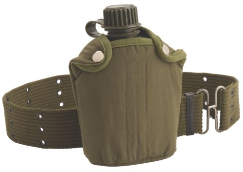 Military Canteen with Cover and Belt
