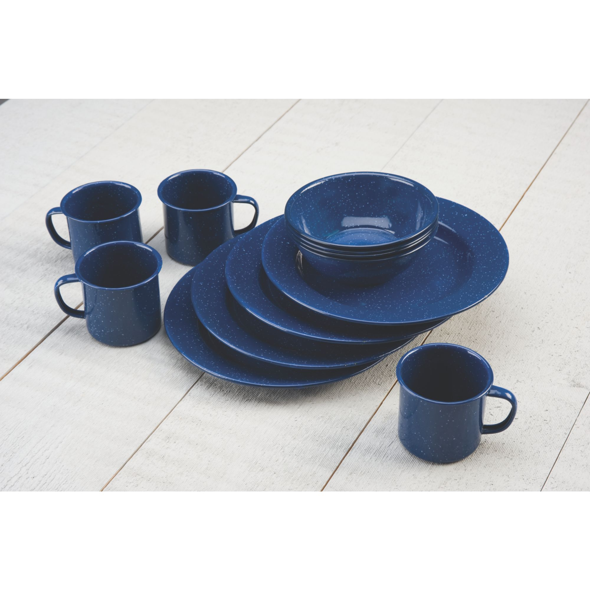 12 PIECE ENAMEL DINNERWARE SET