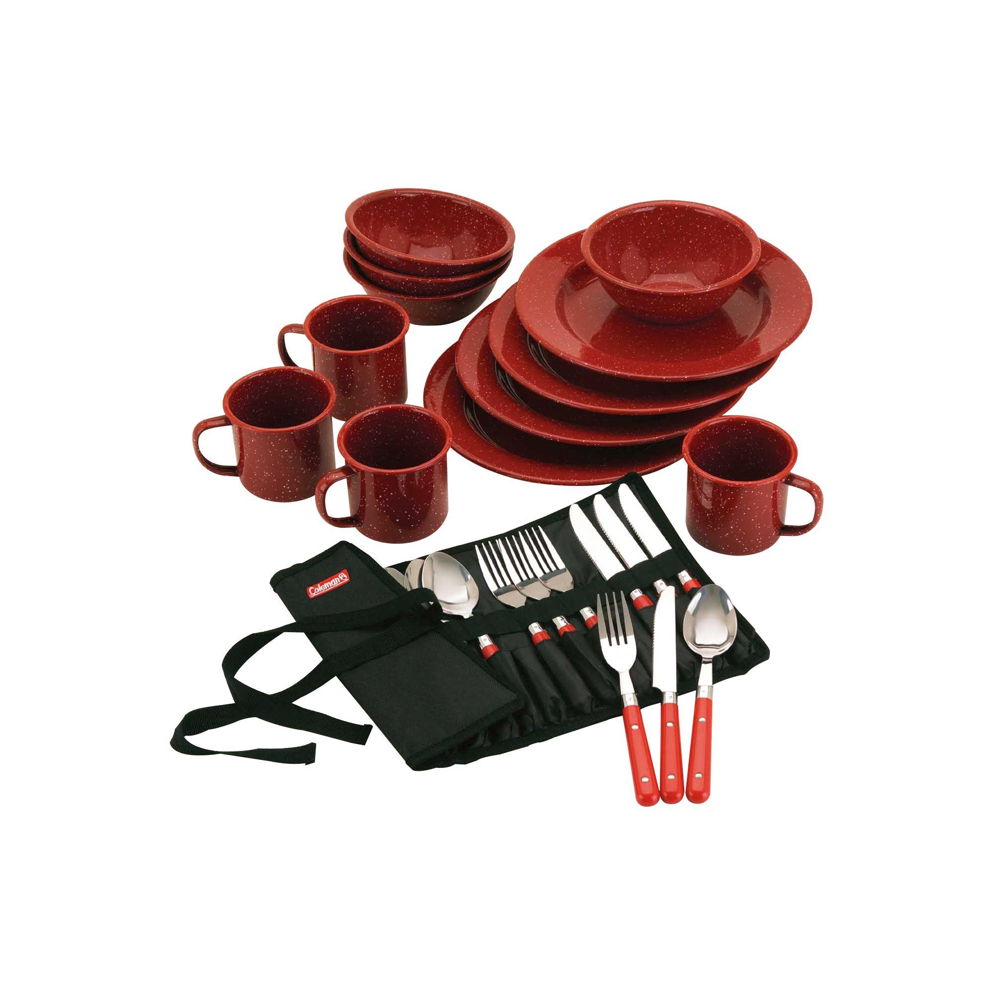 Coleman 24 Piece Enamelware Dish Set And Flatware