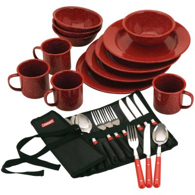24 Piece Enamel Dinnerware Set