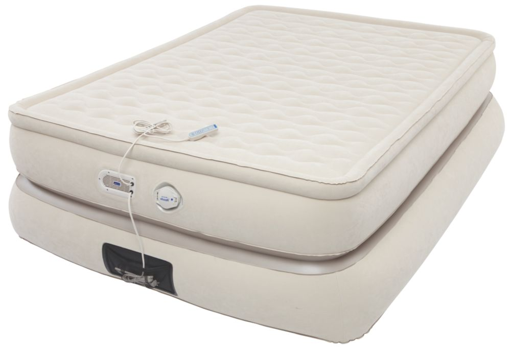 24-Inch Raised Pillowtop Air Mattress in Tan, Queen