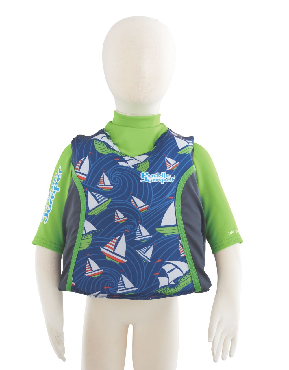 Puddle Jumper® Kids 2-in-1 Life Jacket and Rash Guard, Sailboats