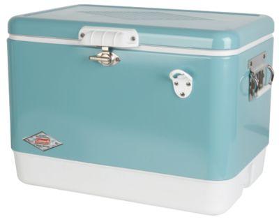 Coleman Vintage Steel-Belted Portable Cooler with Bottle Opener, 54 Quart, Turquoise