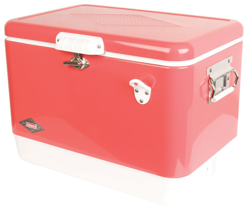 Vintage Steel-Belted Portable Cooler with Bottle Opener, 54 Quart, Rose Pink