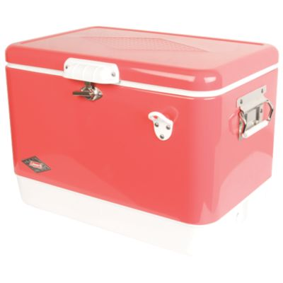 Coleman Vintage Steel-Belted Portable Cooler with Bottle Opener, 54 Quart, Rose Pink