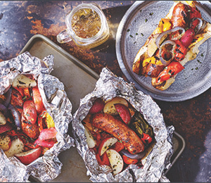 Campfire-Cooked Sausage-and-Peppers Hoagies