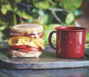 Canadian Bacon, Tomato, and Egg Campfire Stacks