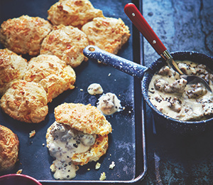 Good Morning Cheddar Drop Biscuits and Sausage Gravy