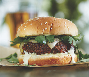 Green Chile Burgers with Monterey Jack and Cumin Lime Mayo