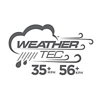 WeatherTec Logo with the words 'WeatherTech System' arching over the top of the main badge. The badge shows a tent surrounded by various weather icons (rain, wind, sunshine) and arrows indicating a cyclical flow to the weather while the tent remains untouched. The bottom of the badge reads 'Keeps You Dry... Guaranteed'.