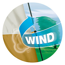 Illustration demonstrating gale-force winds, with a treen nearly bent double in the background. A blue arrow labeled 'wind' is wrapping around the support pole of a tent, but the pole remains rigid.