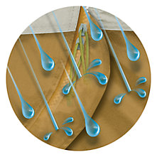 Illustration of rain pelting the zipper of a tent but the zipper is protected by an overlapping flap