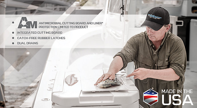 The innovative features banner image shows a man standing on a boat on the right side of the image. The man is filleting a fish on top of a white Esky cooler - with his right hand on the fish and left holding the knife. The top left of the image displays bullet point features, which are listed below. There is also a 'Made in the USA' logo and American Flag hexagon in the bottom right-hand corner.