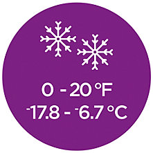 A circular graphic displaying a sleeping bag temperature rating of 0 - 20 degrees Fahrenheit (-17.8 - -6.7 Celsius) with two snowflake icons at the top.