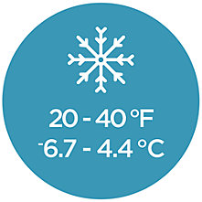 A circular graphic displaying a sleeping bag temperature rating of 20 - 40 degrees Fahrenheit (-6.7 - -4.4 Celsius) with one snowflake icon at the top.